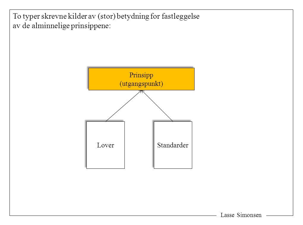 Lasse Simonsen To typer skrevne kilder av (stor) betydning for fastleggelse av de alminnelige prinsippene: Prinsipp (utgangspunkt) Prinsipp (utgangspu
