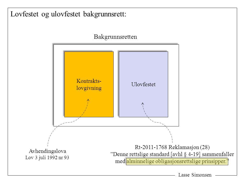 Lasse Simonsen Lovfestet og ulovfestet bakgrunnsrett: Kontrakts- lovgivning Kontrakts- lovgivning Ulovfestet Bakgrunnsretten Rt-2011-1768 Reklamasjon