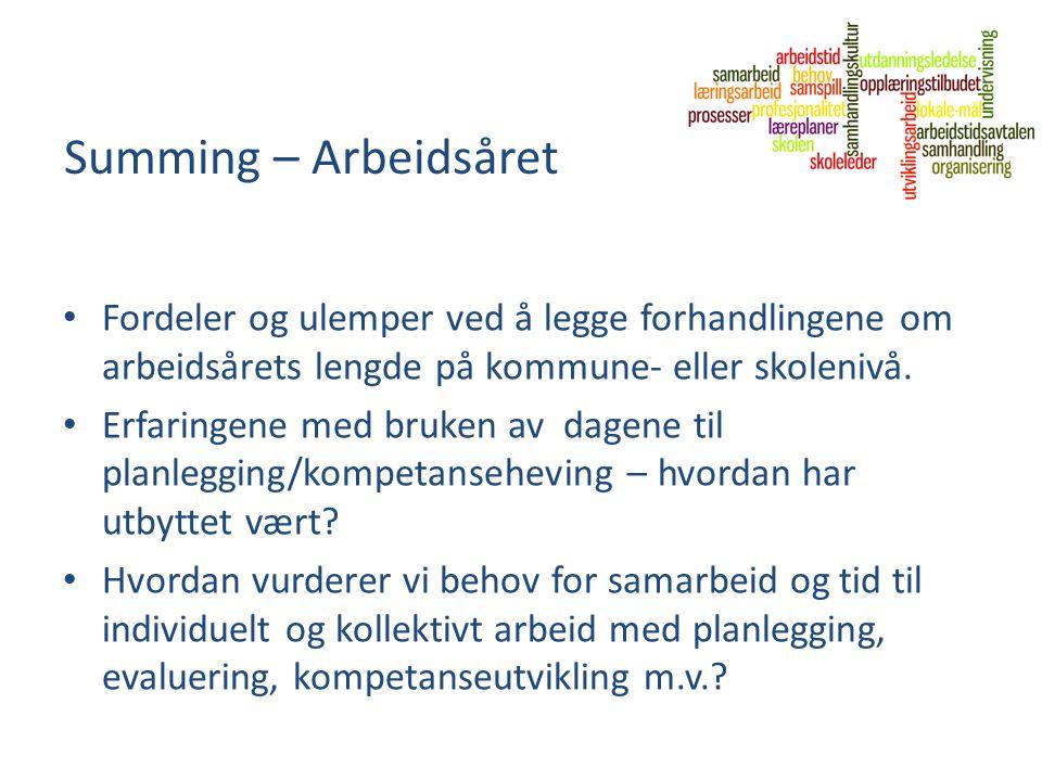Summing – Arbeidsåret Fordeler og ulemper ved å legge forhandlingene om arbeidsårets lengde på kommune- eller skolenivå. Erfaringene med bruken av dag