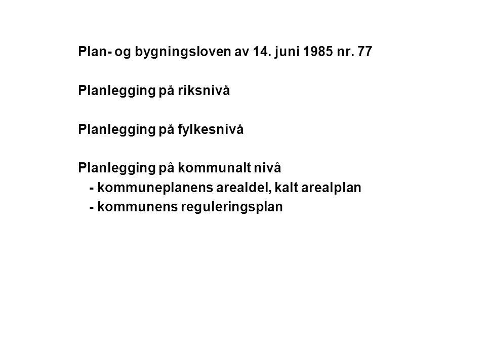 Plan- og bygningsloven av 14. juni 1985 nr. 77 Planlegging på riksnivå Planlegging på fylkesnivå Planlegging på kommunalt nivå - kommuneplanens areald