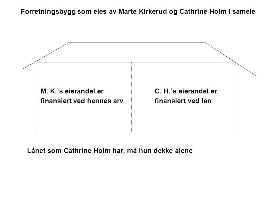 Forretningsbygg som eies av Marte Kirkerud og Cathrine Holm i sameie M. K.`s eierandel erC. H.`s eierandel er finansiert ved hennes arv finansiert ved