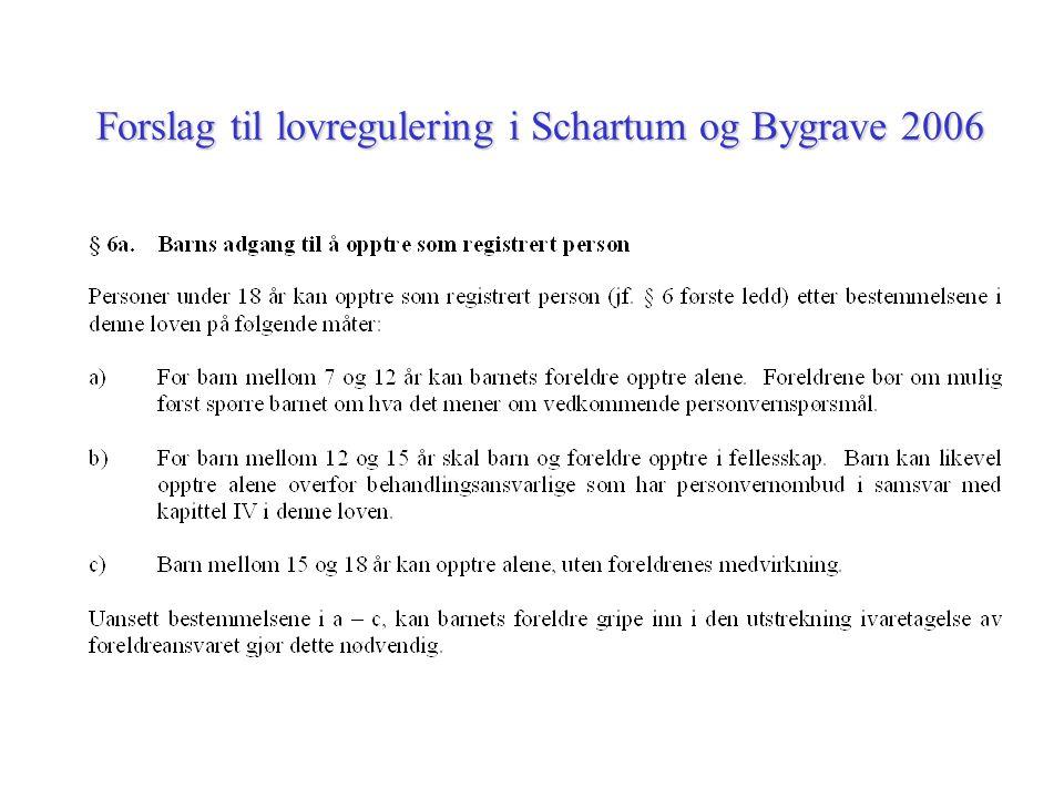 Forslag til lovregulering i Schartum og Bygrave 2006