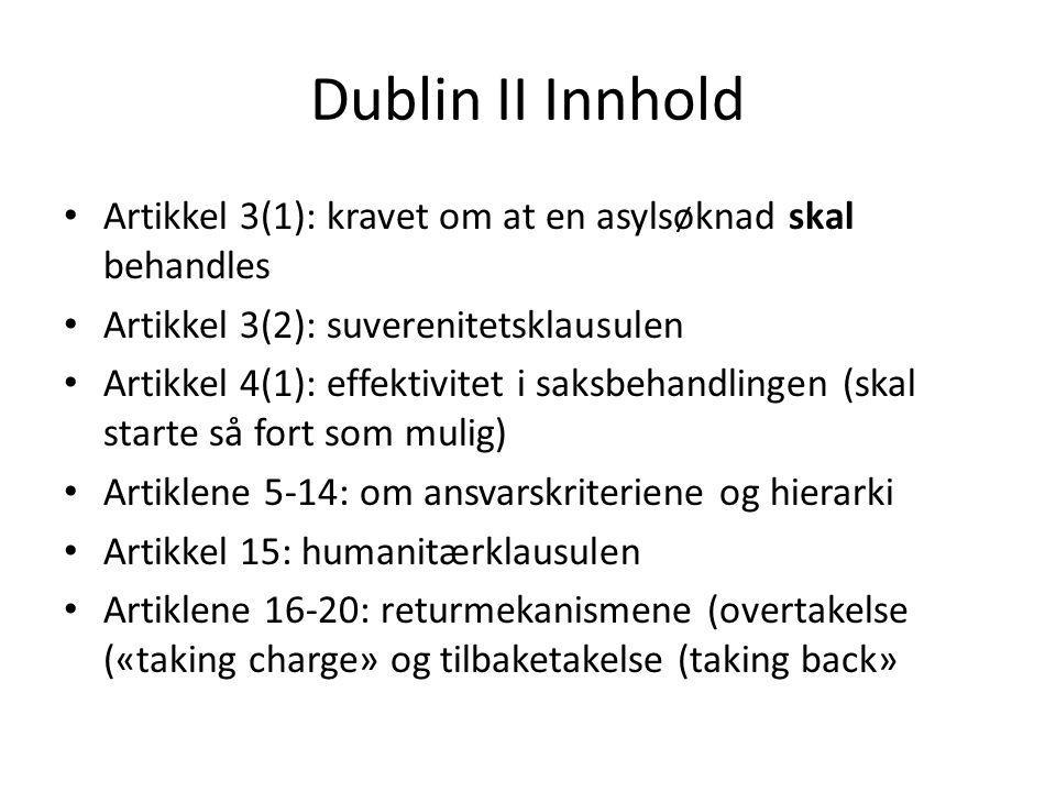 Dublin II Innhold Artikkel 3(1): kravet om at en asylsøknad skal behandles Artikkel 3(2): suverenitetsklausulen Artikkel 4(1): effektivitet i saksbeha