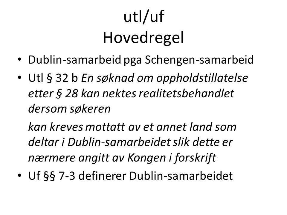 utl/uf Hovedregel Dublin-samarbeid pga Schengen-samarbeid Utl § 32 b En søknad om oppholdstillatelse etter § 28 kan nektes realitetsbehandlet dersom s