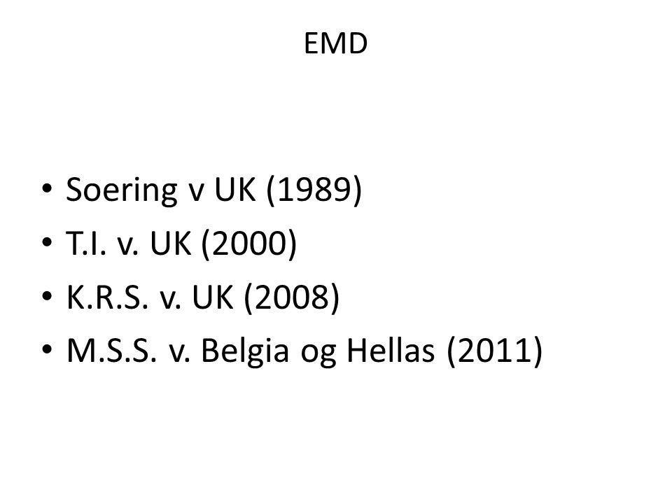 EMD Soering v UK (1989) T.I. v. UK (2000) K.R.S. v. UK (2008) M.S.S. v. Belgia og Hellas (2011)