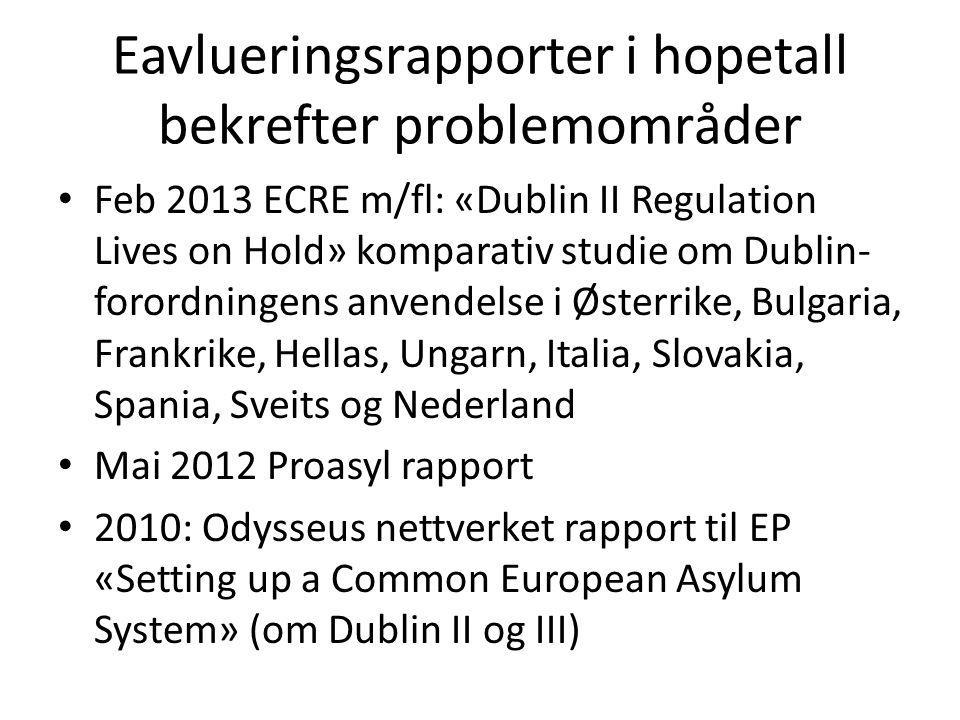 Eavlueringsrapporter i hopetall bekrefter problemområder Feb 2013 ECRE m/fl: «Dublin II Regulation Lives on Hold» komparativ studie om Dublin- forordn