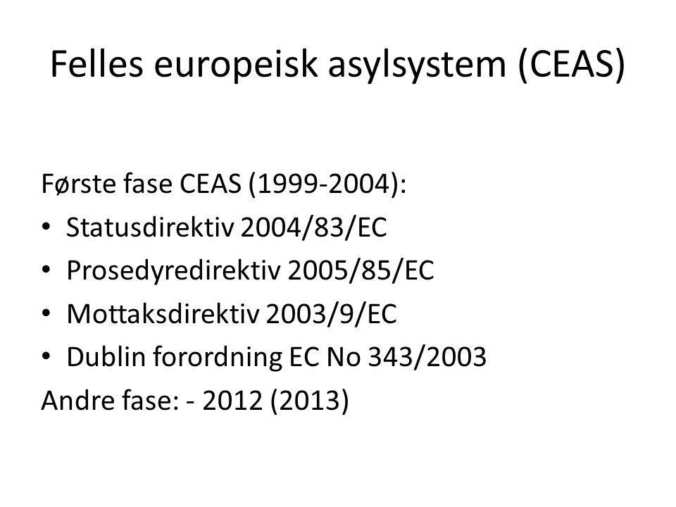 Felles europeisk asylsystem (CEAS) Første fase CEAS (1999-2004): Statusdirektiv 2004/83/EC Prosedyredirektiv 2005/85/EC Mottaksdirektiv 2003/9/EC Dubl