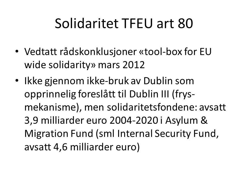 Solidaritet TFEU art 80 Vedtatt rådskonklusjoner «tool-box for EU wide solidarity» mars 2012 Ikke gjennom ikke-bruk av Dublin som opprinnelig foreslåt