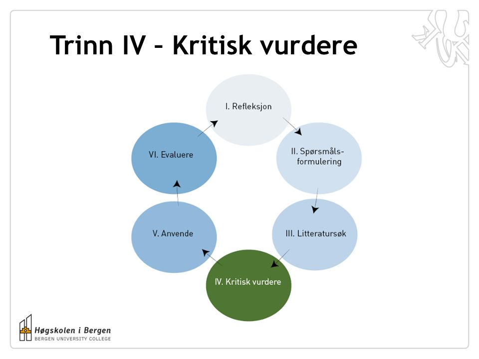 Trinn IV – Kritisk vurdere