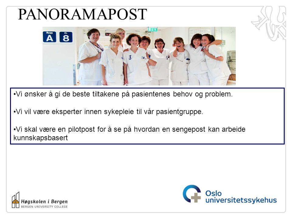 PANORAMAPOST Vi ønsker å gi de beste tiltakene på pasientenes behov og problem. Vi vil være eksperter innen sykepleie til vår pasientgruppe. Vi skal v