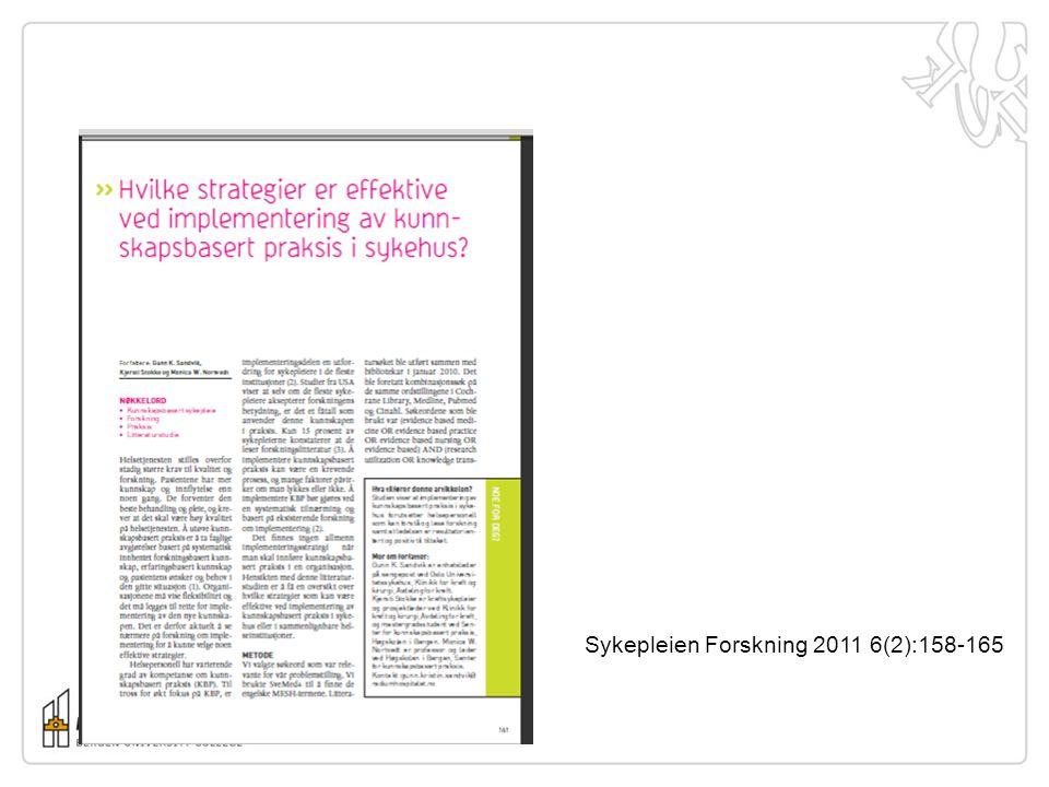 Sykepleien Forskning 2011 6(2):158-165