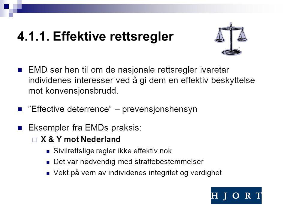 4.1.1. Effektive rettsregler EMD ser hen til om de nasjonale rettsregler ivaretar individenes interesser ved å gi dem en effektiv beskyttelse mot konv