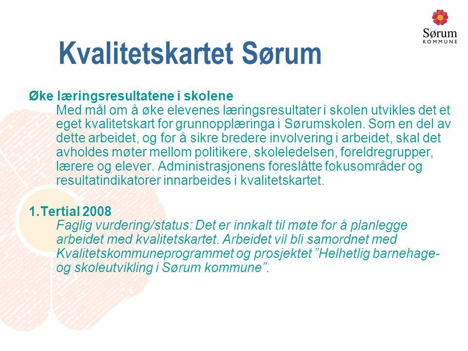 Kvalitetskartet Sørum Øke læringsresultatene i skolene Med mål om å øke elevenes læringsresultater i skolen utvikles det et eget kvalitetskart for grunnopplæringa i Sørumskolen.