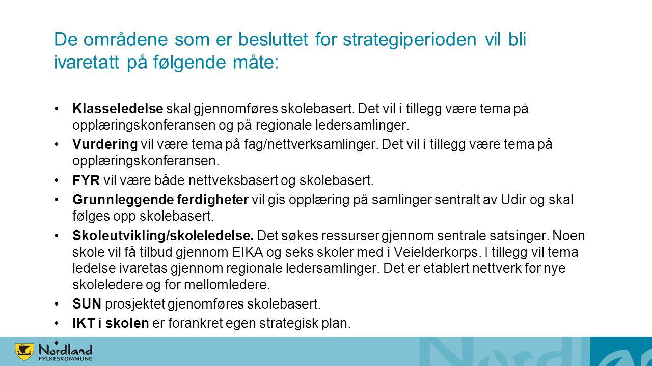 De områdene som er besluttet for strategiperioden vil bli ivaretatt på følgende måte: Klasseledelse skal gjennomføres skolebasert.