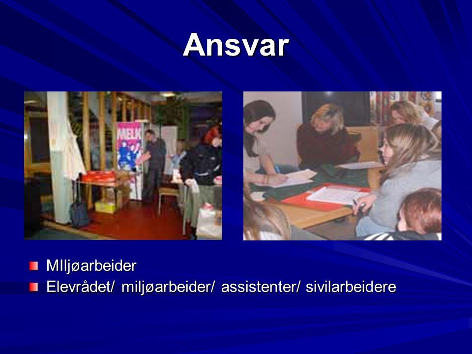 Ansvar MIljøarbeider Elevrådet/ miljøarbeider/ assistenter/ sivilarbeidere