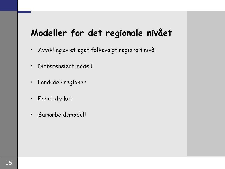 15 Modeller for det regionale nivået Avvikling av et eget folkevalgt regionalt nivå Differensiert modell Landsdelsregioner Enhetsfylket Samarbeidsmodell