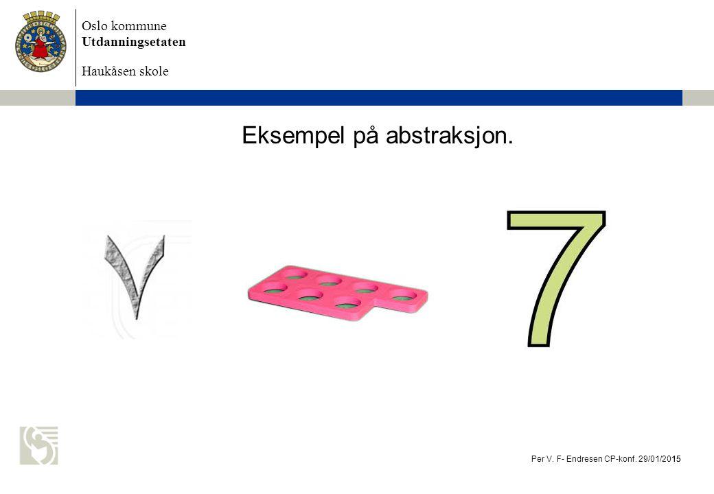 Oslo kommune Utdanningsetaten Haukåsen skole Eksempel på abstraksjon. Per V. F- Endresen CP-konf. 29/01/2015 15