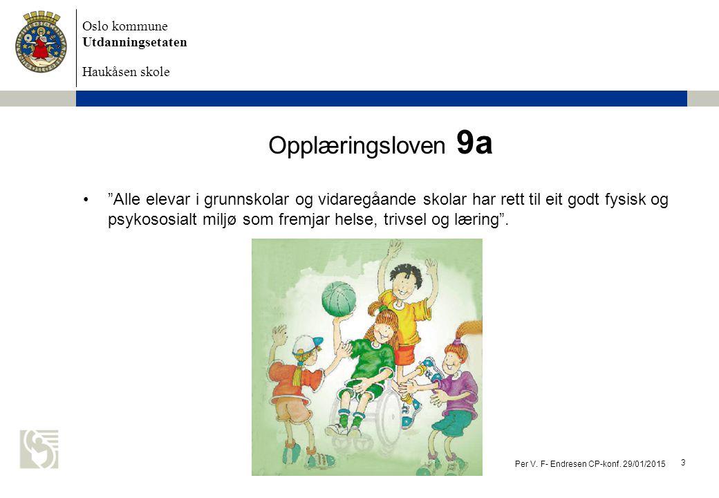 """Oslo kommune Utdanningsetaten Haukåsen skole Opplæringsloven 9a """"Alle elevar i grunnskolar og vidaregåande skolar har rett til eit godt fysisk og psyk"""