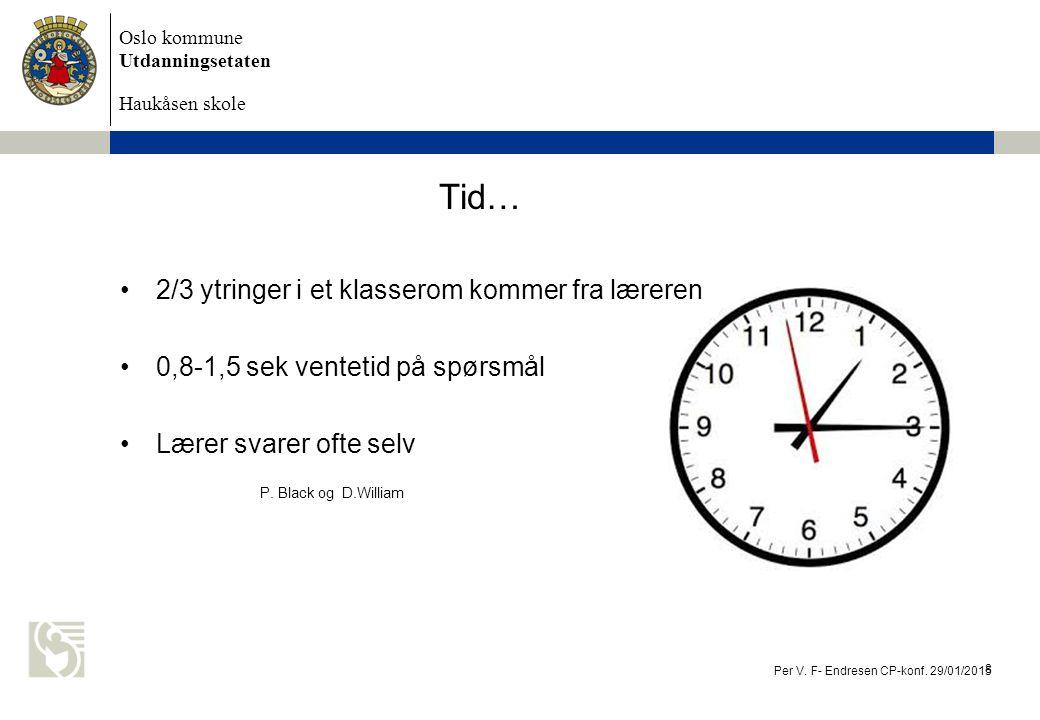 Oslo kommune Utdanningsetaten Haukåsen skole 2/3 ytringer i et klasserom kommer fra læreren 0,8-1,5 sek ventetid på spørsmål Lærer svarer ofte selv P.