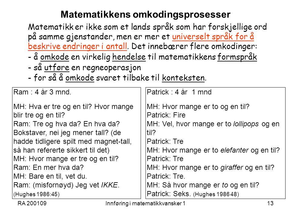 RA 200109Innføring i matematikkvansker 113 Matematikkens omkodingsprosesser Matematikk er ikke som et lands språk som har forskjellige ord på samme gj