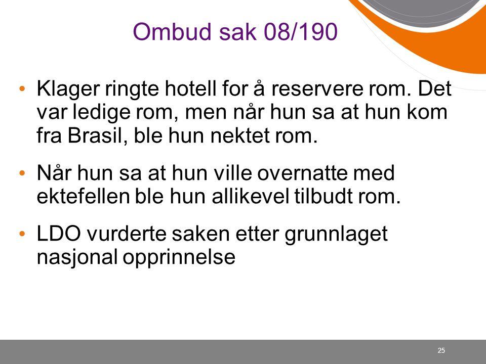 25 Ombud sak 08/190 Klager ringte hotell for å reservere rom.