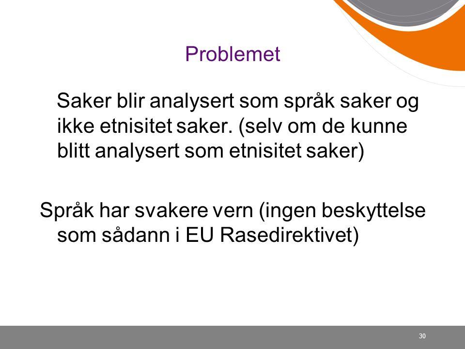 30 Problemet Saker blir analysert som språk saker og ikke etnisitet saker.