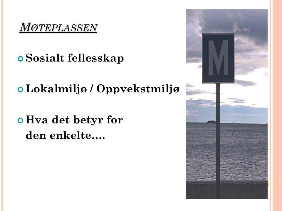 M ØTEPLASSEN Sosialt fellesskap Lokalmiljø / Oppvekstmiljø Hva det betyr for den enkelte….