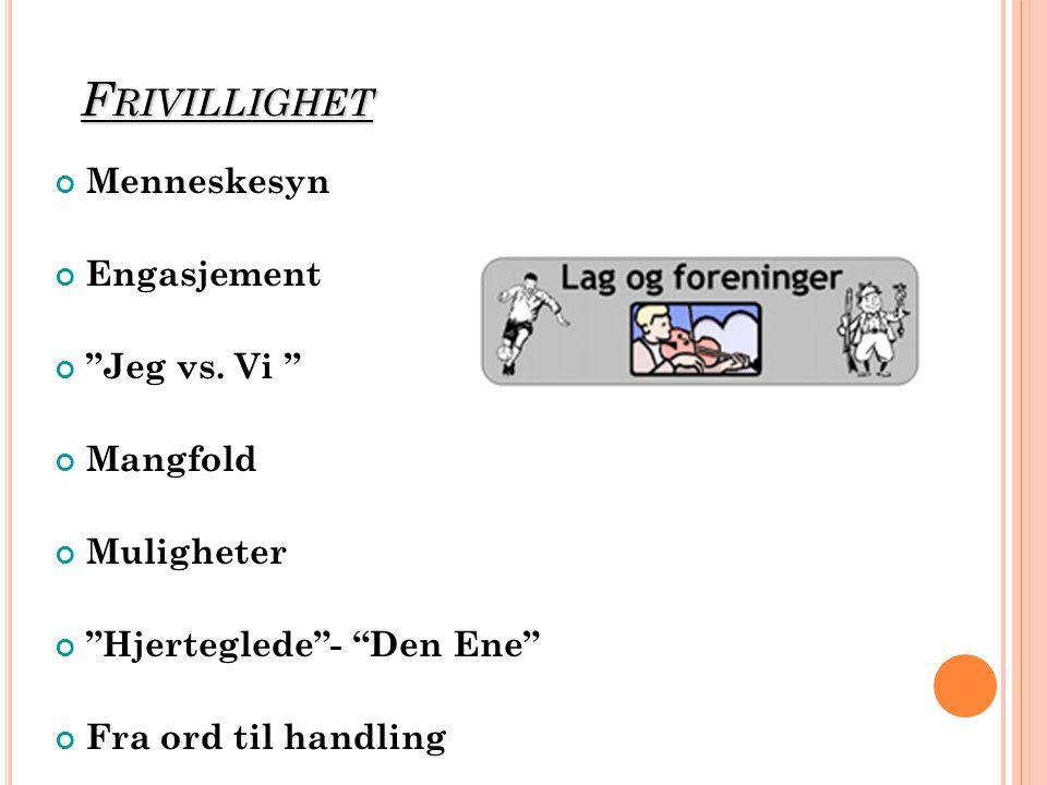 F RIVILLIGHET Menneskesyn Engasjement Jeg vs.