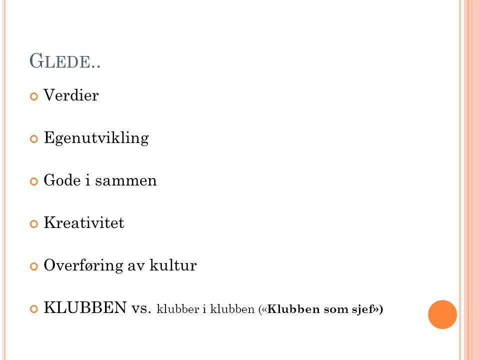 G LEDE.. Verdier Egenutvikling Gode i sammen Kreativitet Overføring av kultur KLUBBEN vs.