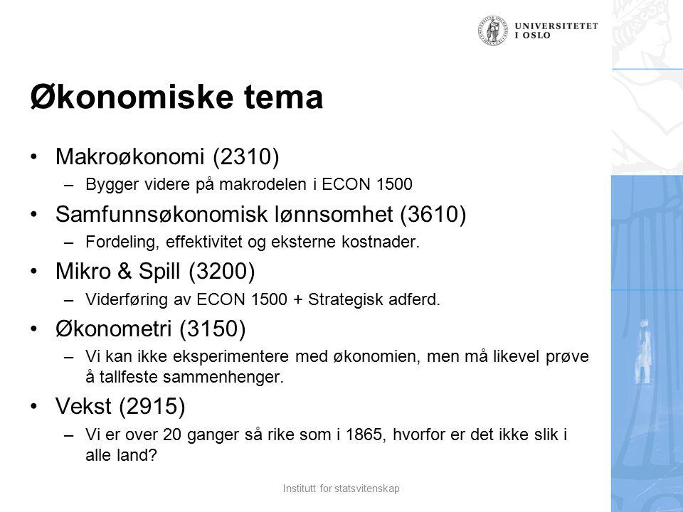 Økonomiske tema Makroøkonomi (2310) –Bygger videre på makrodelen i ECON 1500 Samfunnsøkonomisk lønnsomhet (3610) –Fordeling, effektivitet og eksterne kostnader.