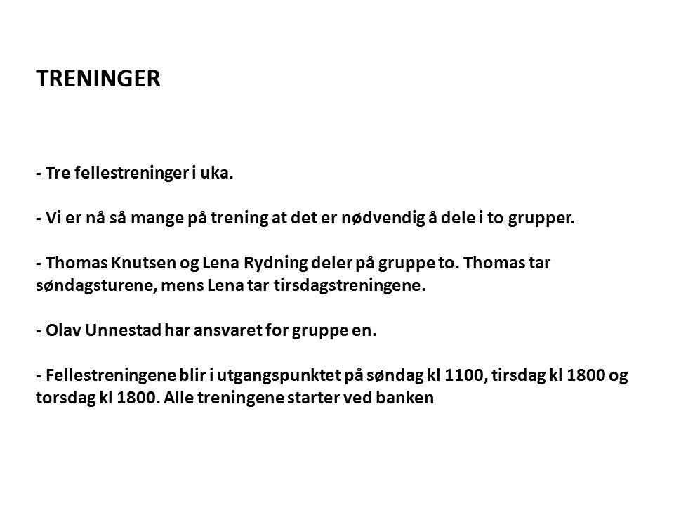 TRENINGER - Tre fellestreninger i uka.
