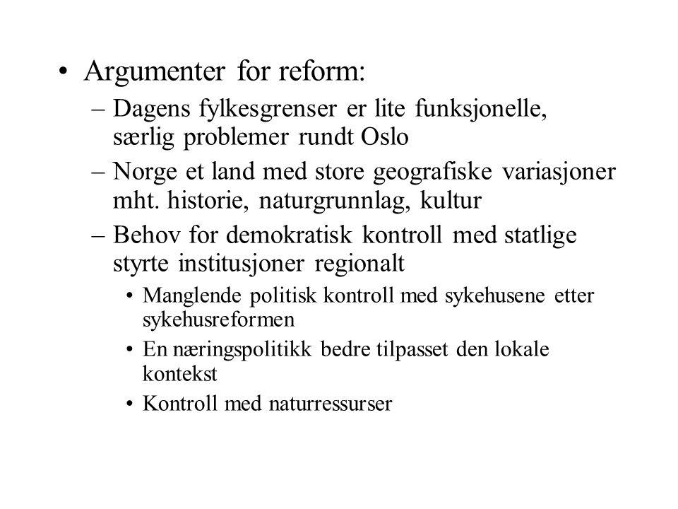 Argumenter for reform: –Dagens fylkesgrenser er lite funksjonelle, særlig problemer rundt Oslo –Norge et land med store geografiske variasjoner mht. h