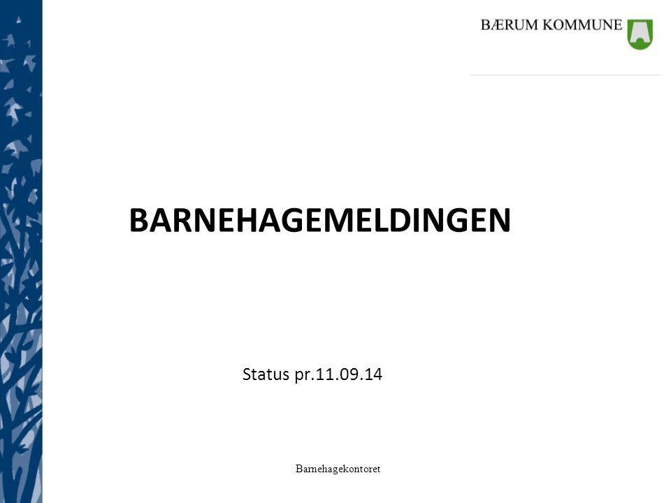 Barnehagekontoret BARNEHAGEMELDINGEN Status pr.11.09.14
