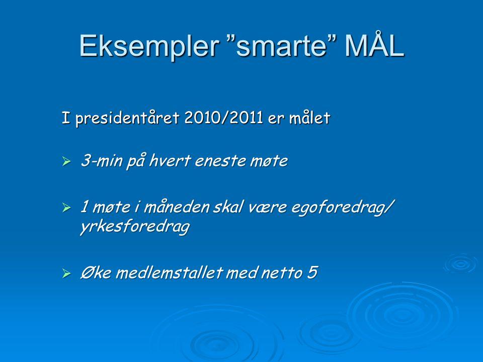 """Eksempler """"smarte"""" MÅL I presidentåret 2010/2011 er målet  3-min på hvert eneste møte  1 møte i måneden skal være egoforedrag/ yrkesforedrag  Øke m"""