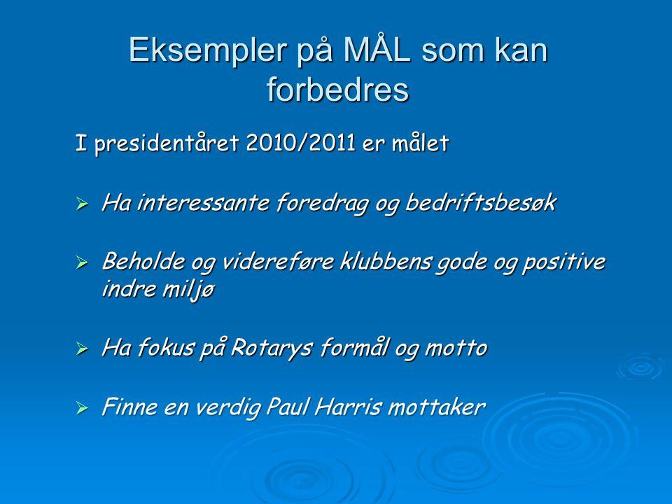 Eksempler på MÅL som kan forbedres I presidentåret 2010/2011 er målet  Ha interessante foredrag og bedriftsbesøk  Beholde og videreføre klubbens god