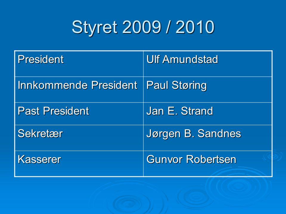 Styret 2009 / 2010 President Ulf Amundstad Innkommende President Paul Støring Past President Jan E. Strand Sekretær Jørgen B. Sandnes Kasserer Gunvor