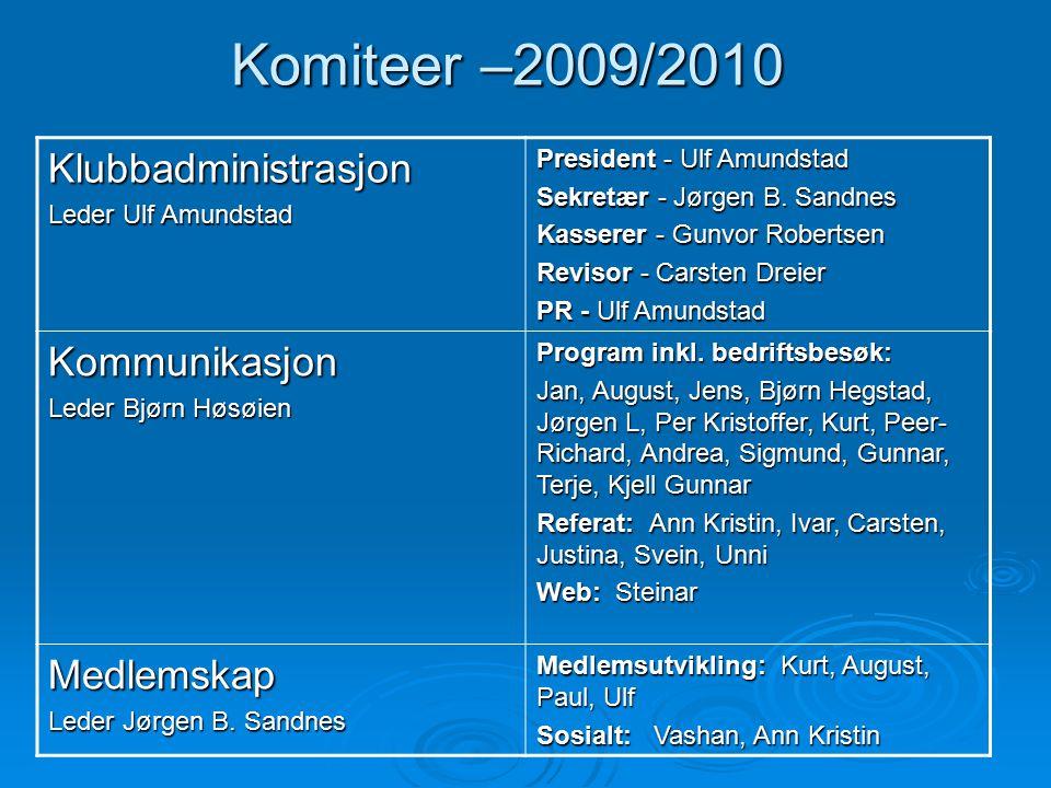 Komiteer –2009/2010 Klubbadministrasjon Leder Ulf Amundstad President - Ulf Amundstad Sekretær - Jørgen B. Sandnes Kasserer - Gunvor Robertsen Revisor
