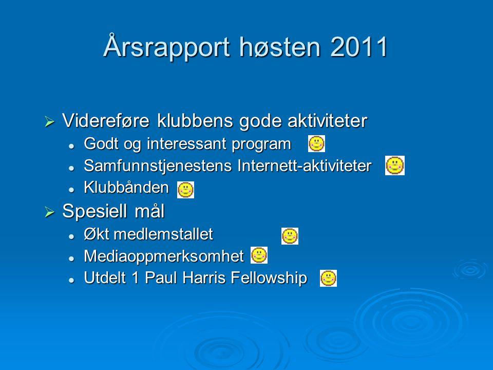 Årsrapport høsten 2011  Videreføre klubbens gode aktiviteter Godt og interessant program Godt og interessant program Samfunnstjenestens Internett-akt