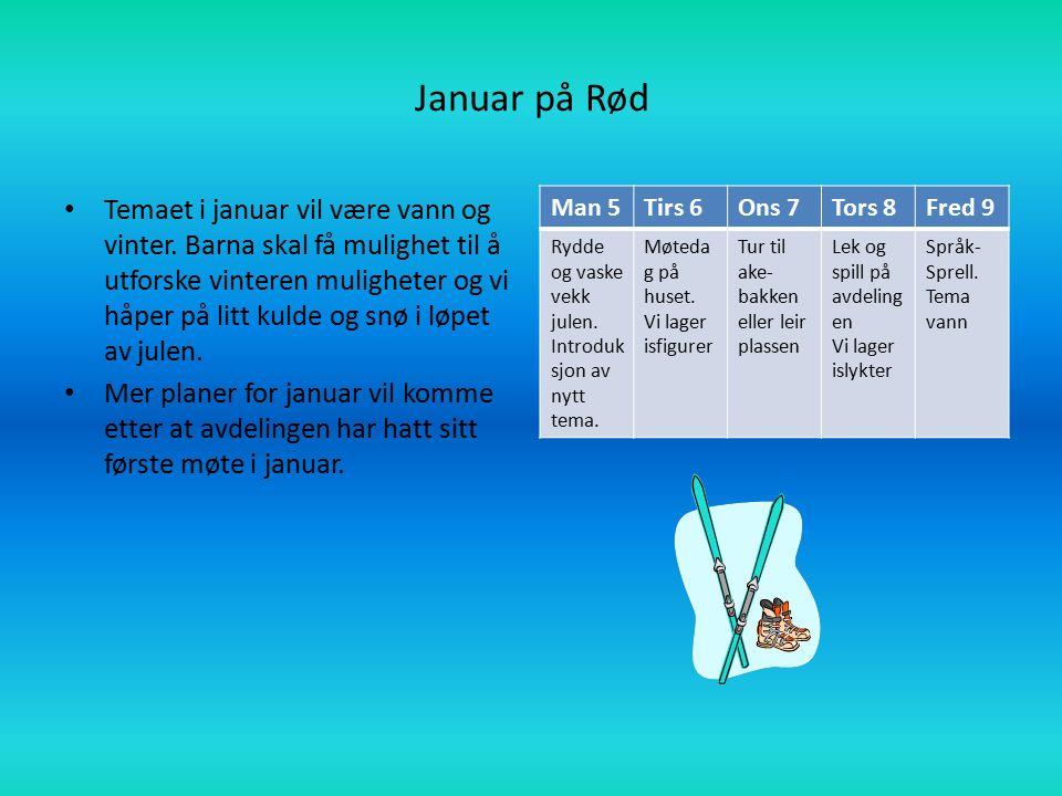 Januar på Rød Temaet i januar vil være vann og vinter. Barna skal få mulighet til å utforske vinteren muligheter og vi håper på litt kulde og snø i lø