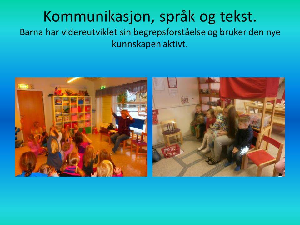 Kommunikasjon, språk og tekst. Barna har videreutviklet sin begrepsforståelse og bruker den nye kunnskapen aktivt.