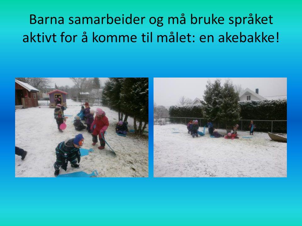 Barna samarbeider og må bruke språket aktivt for å komme til målet: en akebakke!