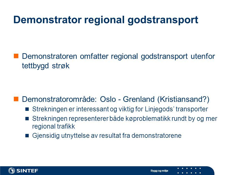 Bygg og miljø Demonstrator regional godstransport Demonstratoren omfatter regional godstransport utenfor tettbygd strøk Demonstratorområde: Oslo - Gre