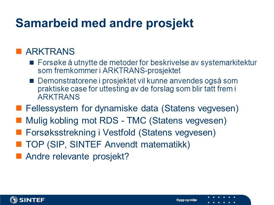 Bygg og miljø Samarbeid med andre prosjekt ARKTRANS Forsøke å utnytte de metoder for beskrivelse av systemarkitektur som fremkommer i ARKTRANS-prosjek