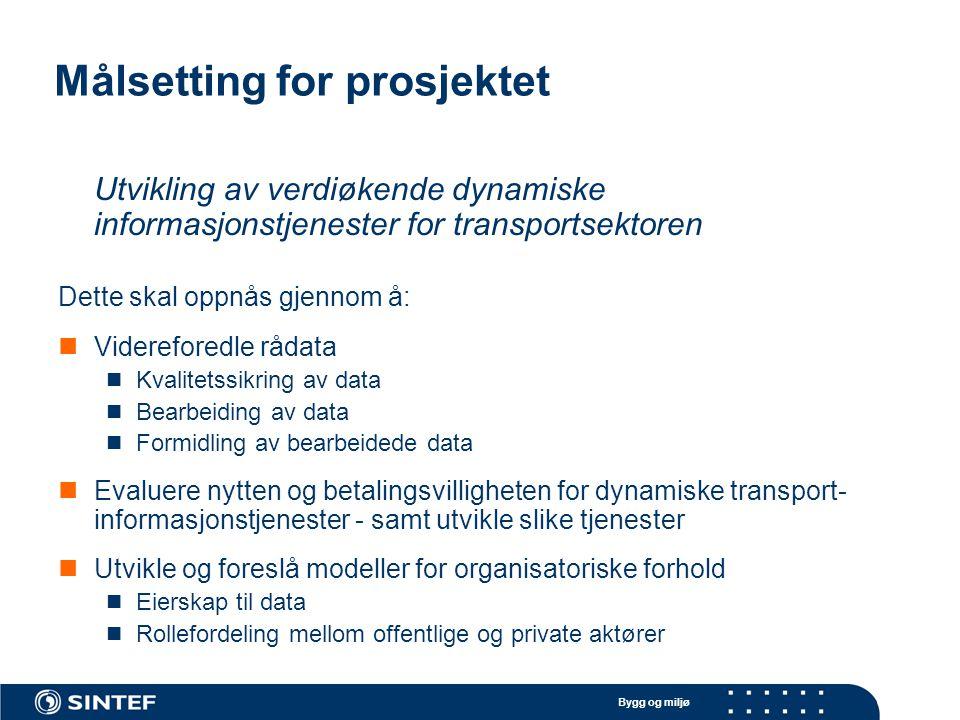 Bygg og miljø Målsetting for prosjektet Utvikling av verdiøkende dynamiske informasjonstjenester for transportsektoren Dette skal oppnås gjennom å: Vi