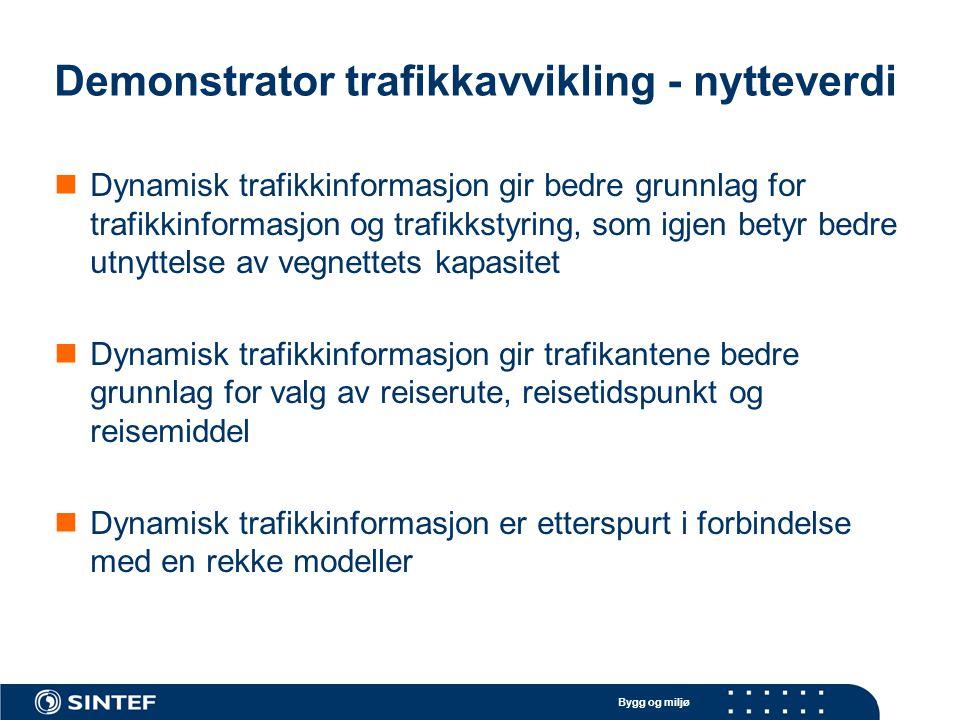 Bygg og miljø Demonstrator trafikkavvikling - nytteverdi Dynamisk trafikkinformasjon gir bedre grunnlag for trafikkinformasjon og trafikkstyring, som