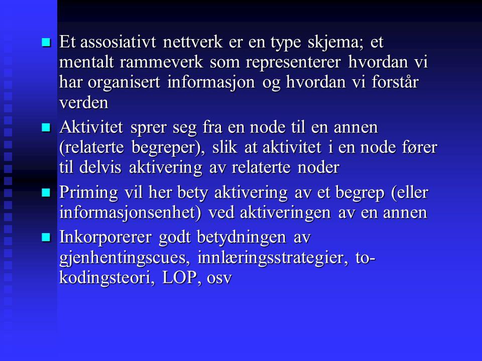 Et assosiativt nettverk er en type skjema; et mentalt rammeverk som representerer hvordan vi har organisert informasjon og hvordan vi forstår verden E