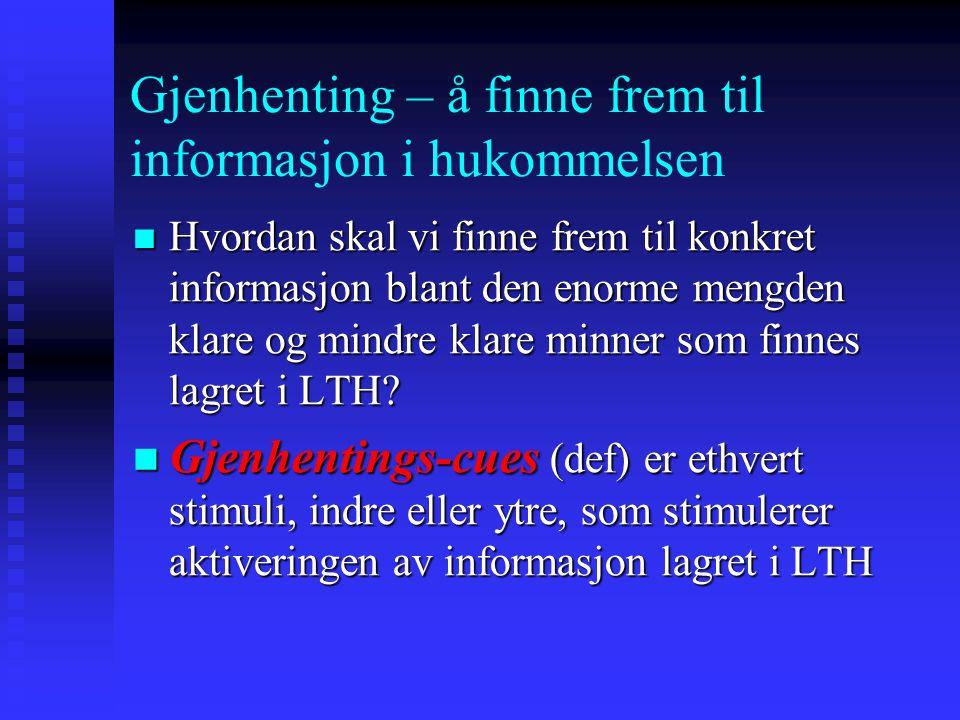 Gjenhenting – å finne frem til informasjon i hukommelsen Hvordan skal vi finne frem til konkret informasjon blant den enorme mengden klare og mindre k