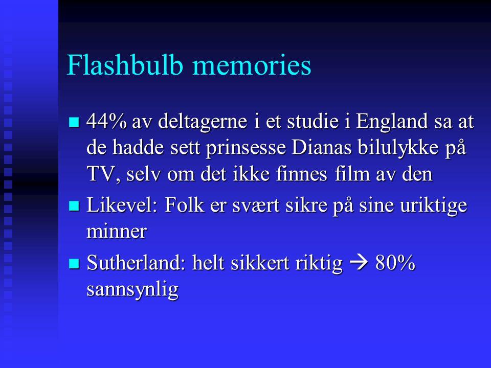 Flashbulb memories 44% av deltagerne i et studie i England sa at de hadde sett prinsesse Dianas bilulykke på TV, selv om det ikke finnes film av den 4