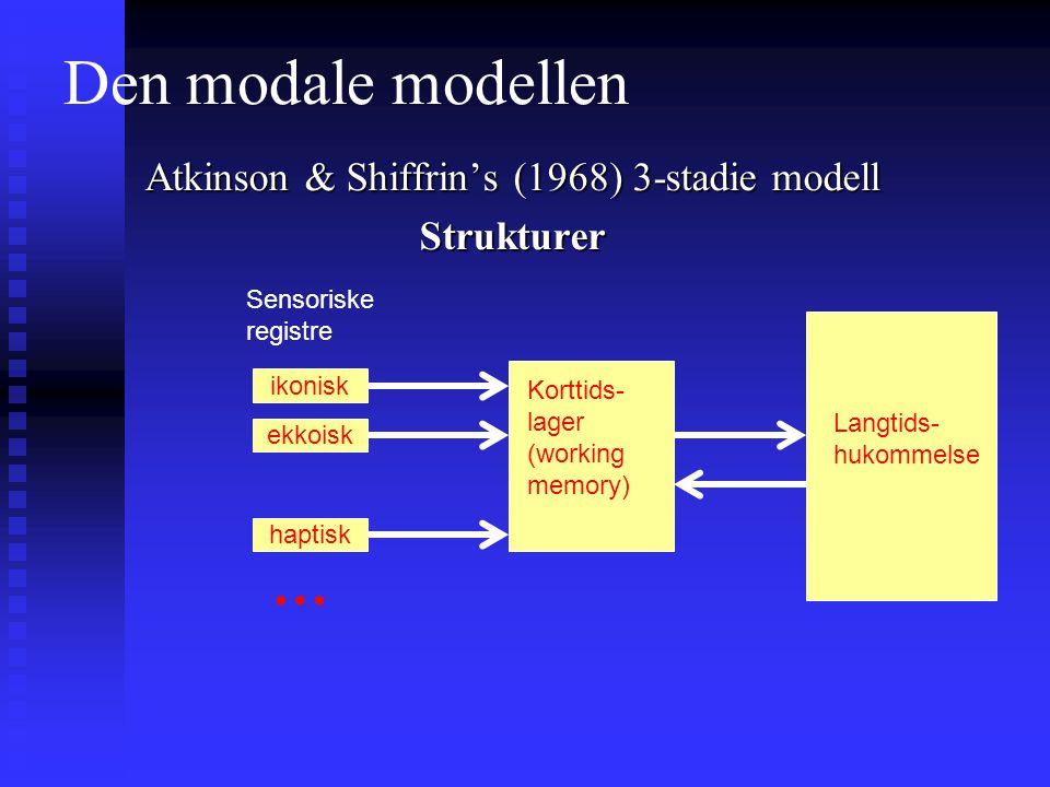 Den modale modellen Atkinson & Shiffrin's (1968) 3-stadie modell Strukturer Sensoriske registre Korttids- lager (working memory) Langtids- hukommelse