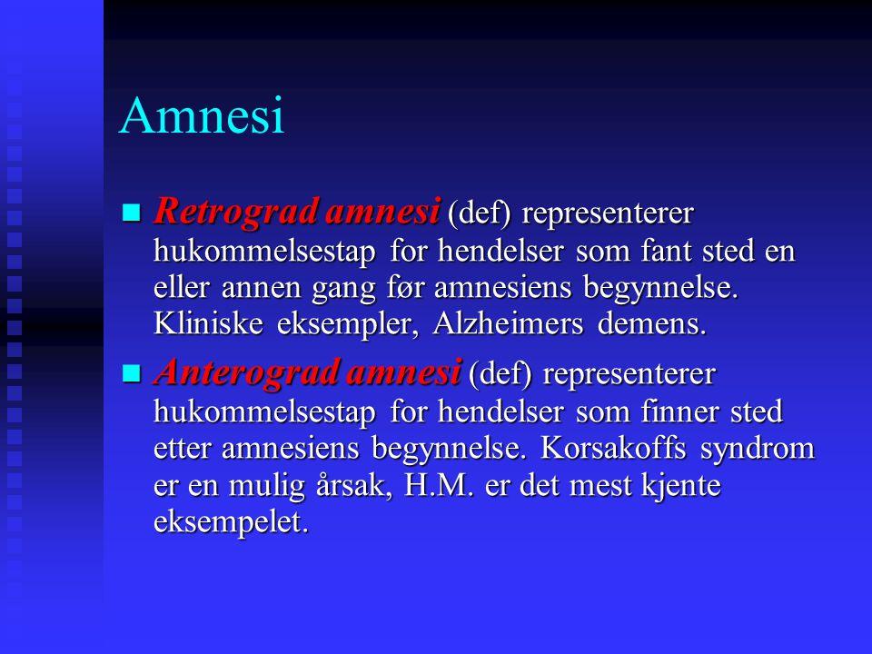 Retrograd amnesi (def) representerer hukommelsestap for hendelser som fant sted en eller annen gang før amnesiens begynnelse. Kliniske eksempler, Alzh
